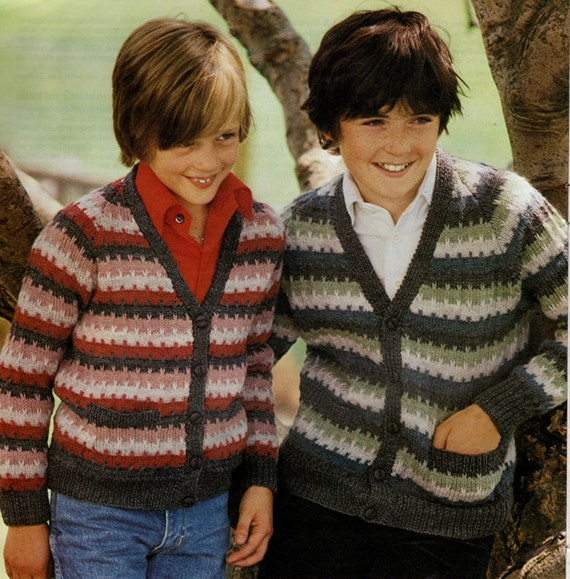 Knitting Pattern Striped Cardigan : kids cardigan knitted striped sweater pattern vintage