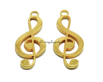 10 pieces - G Clef Musical treble clef Charms Pendant Findings Gold Tone