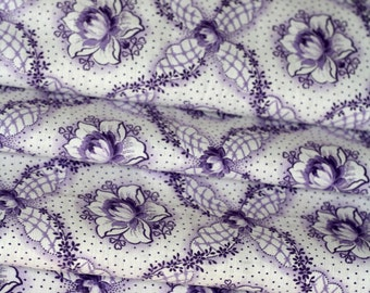 Vintage Cotton Fabric Waterlilly - VC2