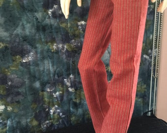 BJD SD red/brown striped flannel Pajammas