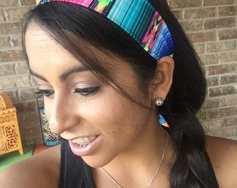 Neon Aztec Non Slip Spandex Headband