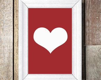 Love Heart Print, Bedroom Art, Romantic Print, Inspirational Quote, Modern Art Print, Digital Print, Wall Art
