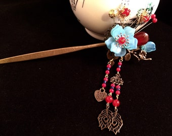 Blue Floral Pin