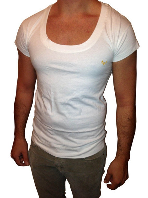 White Men 39 S Scoop Neck Low Cut Hoody T Shirt With By