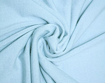 "SALE Light Blue Solid Knit Fabric by the Yard | 55"" Wide Knit Fabric for Sewing"