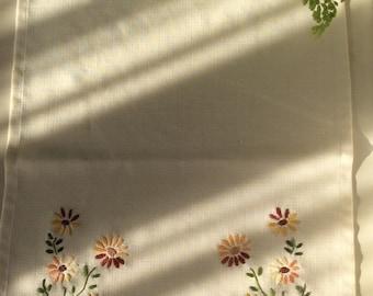 A pair of vintageTray cloths, tablecloth, table linen.