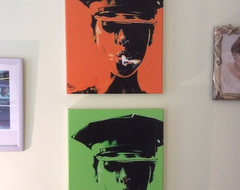 Pop art canvas. pictures on canvas Vivid green and orange. Andy Warhol style.