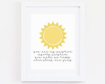 You Are My Sunshine, quote print, Digital Print, Sun Art, Wall Art, Nursery Print ,Nursery Decor, Sunshine Art, Sunshine, Lullaby Quote