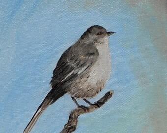 Mockingbird - Original Oil Painting 8 x 10