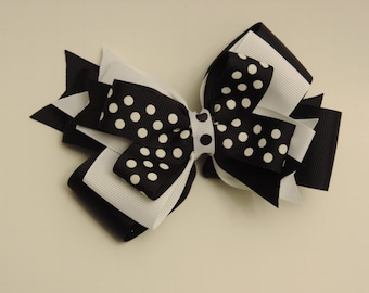 Black and White Stacked Bow