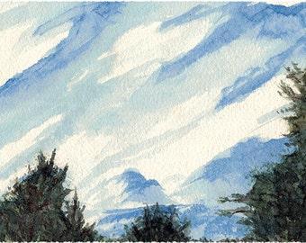 "Clouds Watercolour Print 4x6"""