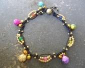 Colourful Agata Boho Bell Anklet