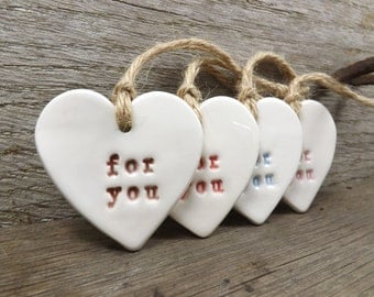 For You Heart Shaped Ceramic Gift Tags