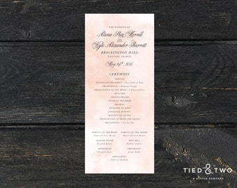 Watercolor Wedding Program | DIY Printable PDF Program, Wedding Program, Custom Wedding Program, Watercolor Wedding Theme