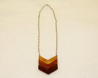 Handmade Leather Chevron Necklace