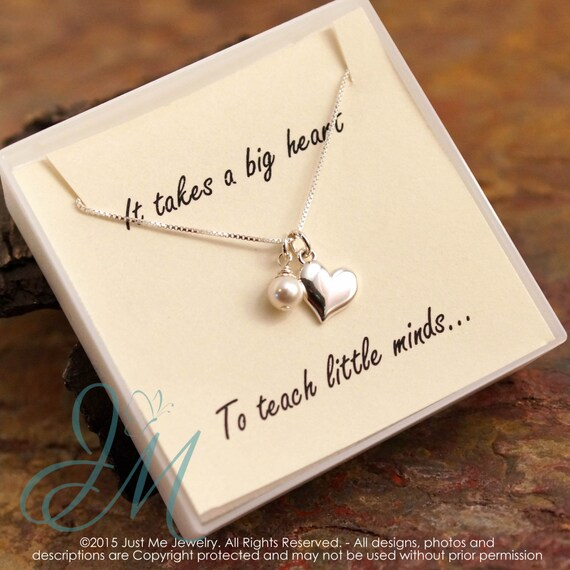 Teacher Necklace with pearl - Sterling Silver Necklace - It takes a big heart to teach little minds