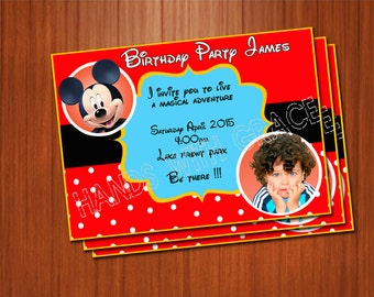Printable Card Party Micky personalizada