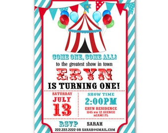 Personalized Circus Carnival Birthday Invitation Printable