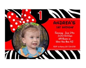 Red Zebra Print Minnie Mouse Birthday Custom Photo Invitation - Printable