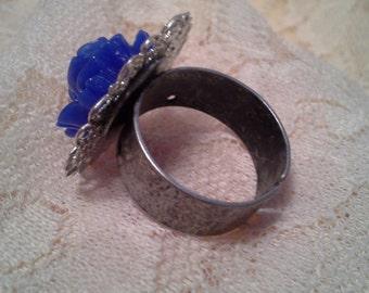 Royal Blue Flower Ring
