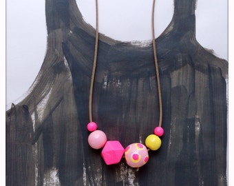 Hand Painted Wood Bead Necklace in Pink Me Happy