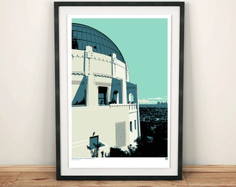 Los Angeles, Griffith Observatory, Architectural Print, Art print, Poster, Digital, Illustration, Wall Decor