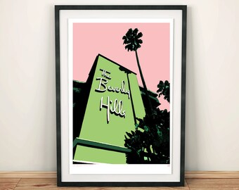Los Angeles, Beverly Hills Hotel, Architectural Print, Art print, Poster, Digital, Illustration,Wall Decor