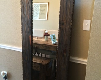 "Floor Mirror-Wardrobe Mirror-24"" x 69""-Large Wall Mirror-Rustic Modern Home-Reclaimed Wood Mirror-Rectangle Mirror-Headboard Mirror"