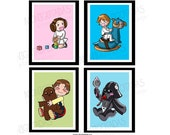 Star Wars Nursery Wall Art (set of 4)  / Room Decor Prints / Star Wars Kids Room / Nursery Kids