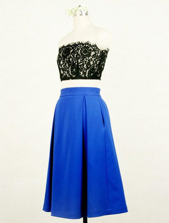 knee length royal blue skirt for juniors by youthstudio on