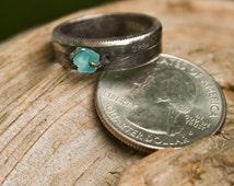 Great Smokey Mountain Coin Ring with Madagascar Apatite Stone
