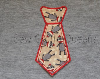 READY TO SHIP Sock Monkey Tie iron on applique patch