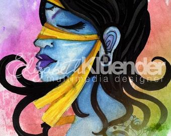 Blue Blindfolded Lady Print