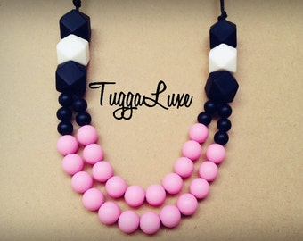 Free Shipping - La Rioja /Silicone Necklace/Modern/Silicone Beads/Mom/Mothers Day/Baby Shower/Gift/Nursing/Necklaces/Stylish/TuggaLuxe