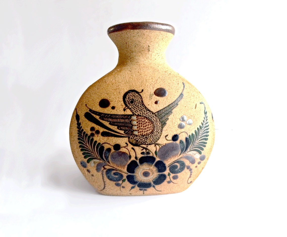 Vintage Mexican Pottery Hand Painted Vase