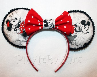 "Handmade Disney Ears ""Mickey n Minnie"" Vintage Comic Custom Mouse Ears inspired by Disney"