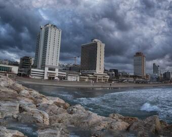 Urban Sea coast during a storm and rain