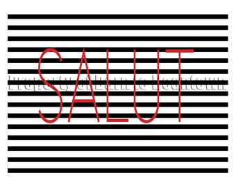 Salut Print on Black Stripes