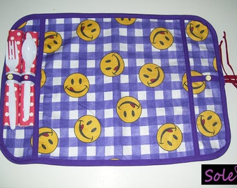 COMPLETE TABLE MAT, purple & yellow smile pattern.- smilies table mats - smilies place mats - smilies lunch mats - smilies snack mats