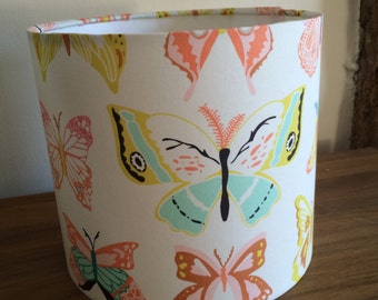 Handmade drum lampshade in butterfly fabric