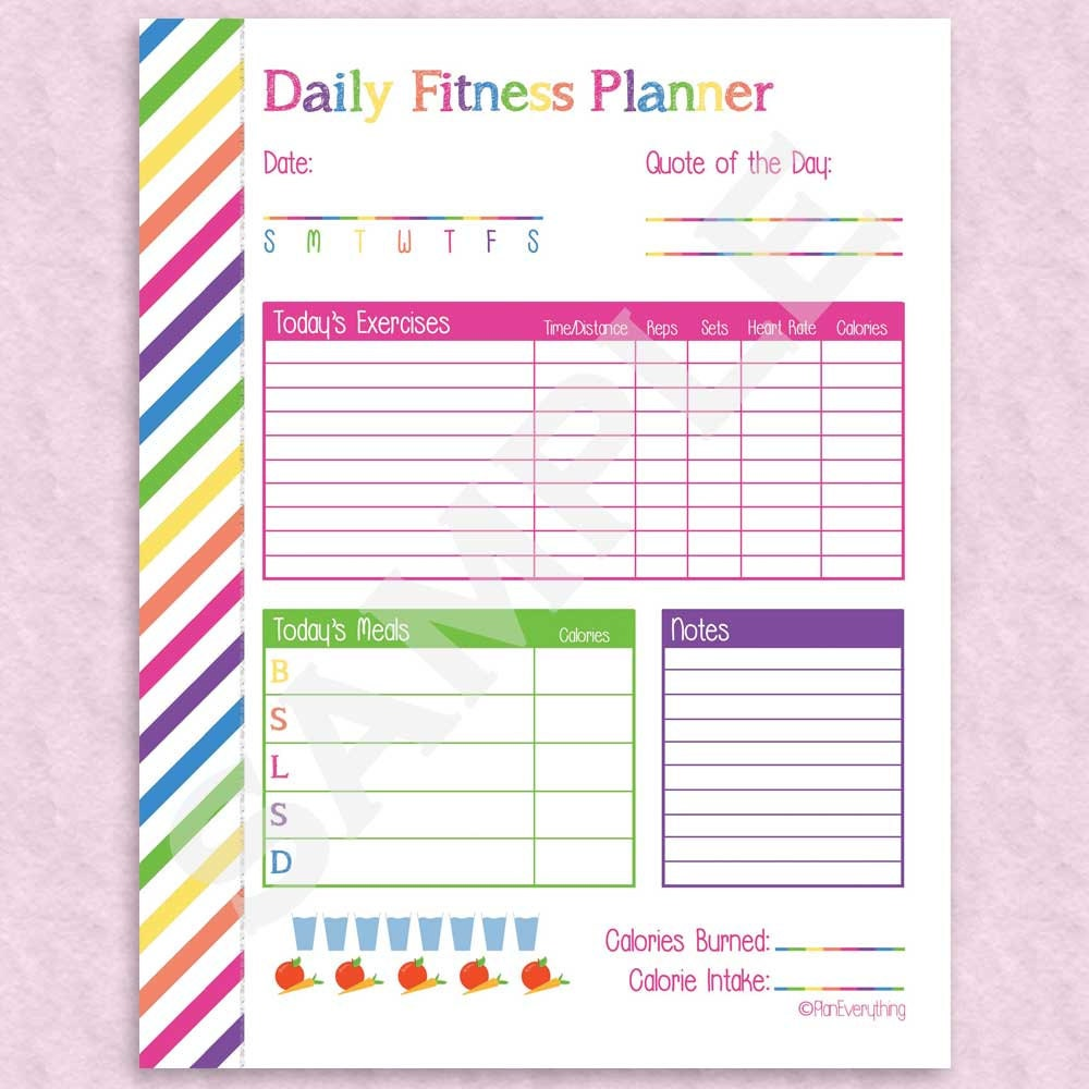 Health & Fitness Planner 9 Printable Pages Instant