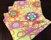 Retro Flower Power REVERSIBLE Fabric Napkins, Eco Friendly, Reusable, Cotton Napkins Set of 4, Individually Handmade