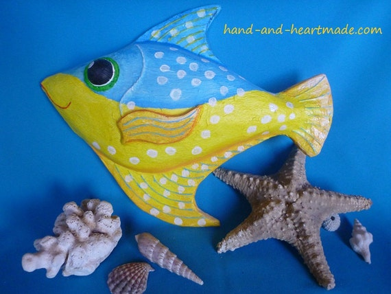 Colourful paper mache fish wall decoration that makes you
