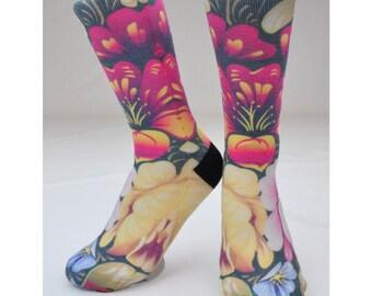 Floral Socks - Hand Printed in USA - Hawaii Socks | Hawaiian Flowers | Paradise | Hawaiian Gift | Tropical Socks | Unique Socks | Cute Socks