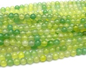 Apple Green Agate, Soft Green Beads, Chartreuse Stone Beads, Smooth Round 4 6 8 10 12 14mm Agate Beads Supplies