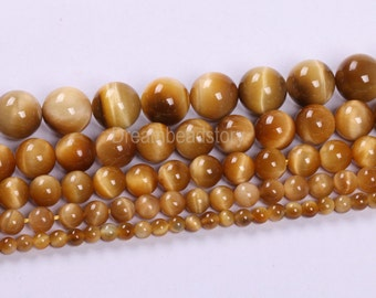 Golden Tiger Eye Beads, Top Quality Golden Yellow Color Semi-precious Stone Beads, 4 6 8 10 12mm Natural Golden Tiger Eye, DIY Jewelry Beads