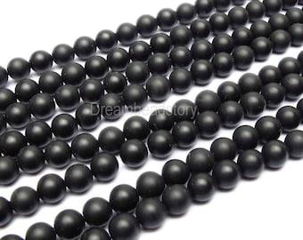Frosted Natural Black Agate Beads, Matt Black Agate Beads Strand, 4  6 8 10mm Black Agate Beads in Opaque Matte Finish (B8)