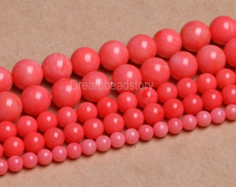 Pink Coral Beads, Angel Skin Coral Beads, Smooth Round Coral Beads Pink, 4mm 6mm 8mm Pink Coral Strands Supplies for Jewelry Making (B99)