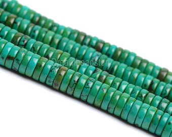Turquoise Heishi Beads, Green Turquoise Rondelle Bead, Full Strand Flat Round Beads, Turquoise Gemstone Tablets Beads Supplies