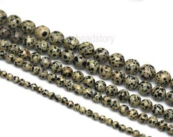 Spot Beads, Natural Spot Stone Beads, Quail Egg Beads, Polka Dot, Smooth Round 6 8 10 12 14 Dotted Beads